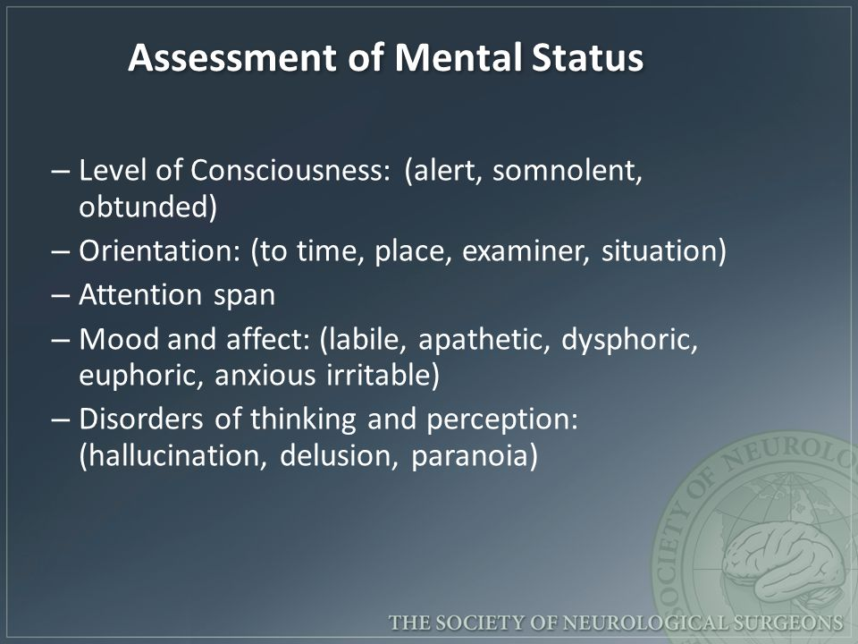 Assessment of Mental Status