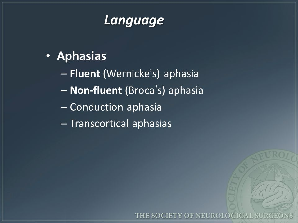 Language Aphasias Fluent (Wernicke's) aphasia