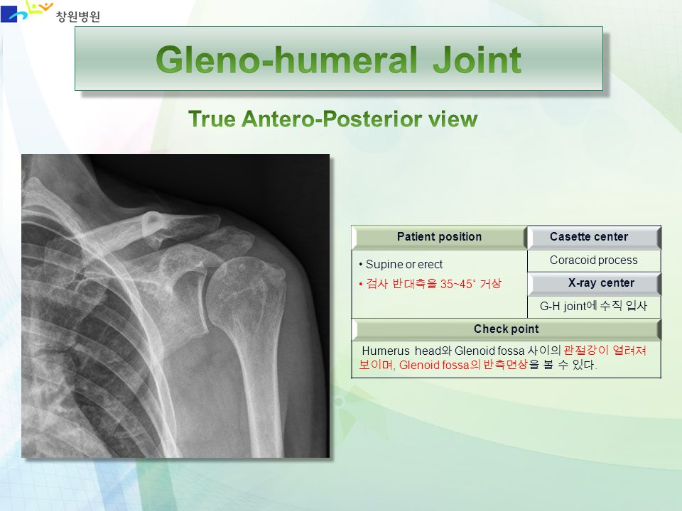 Gleno-humeral Joint True Antero-Posterior view Patient position
