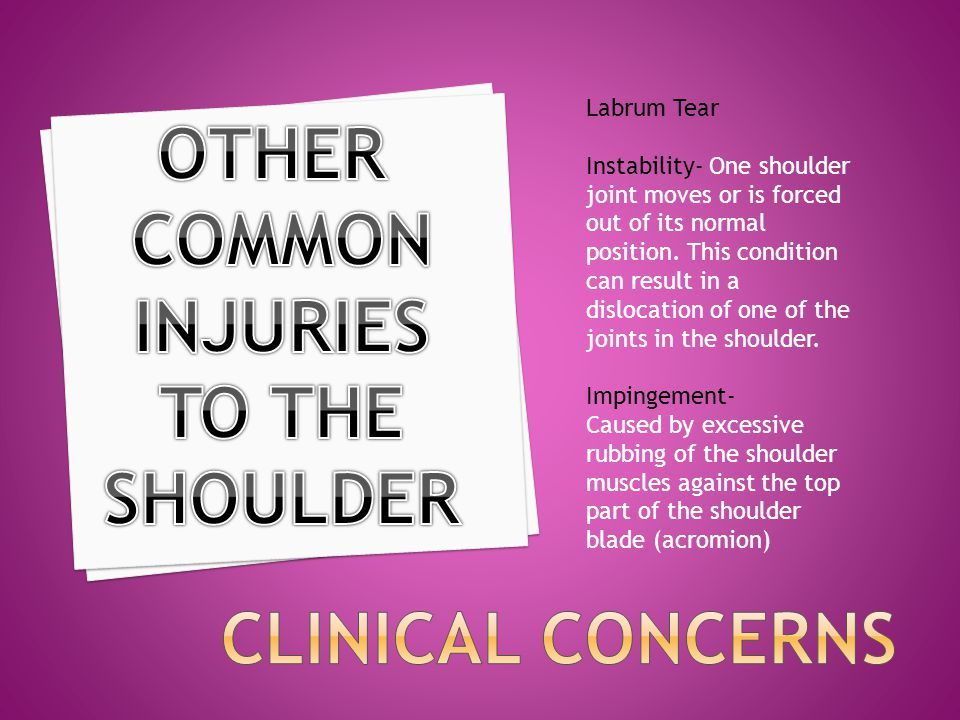 OTHER COMMON INJURIES TO THE SHOULDER