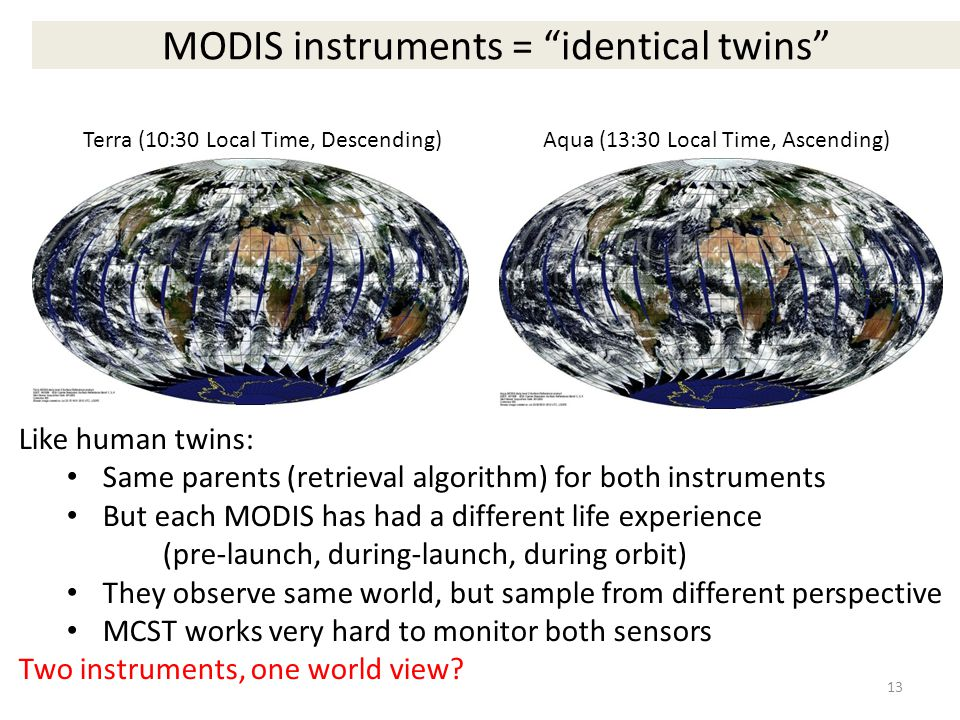 MODIS instruments = identical twins