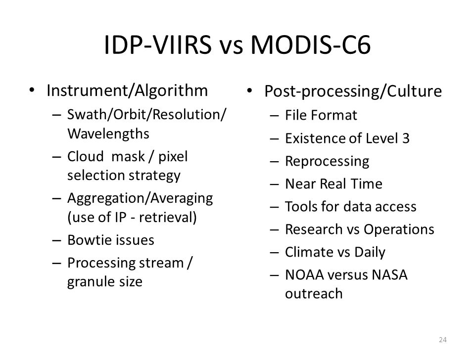 IDP-VIIRS vs MODIS-C6 Instrument/Algorithm Post-processing/Culture