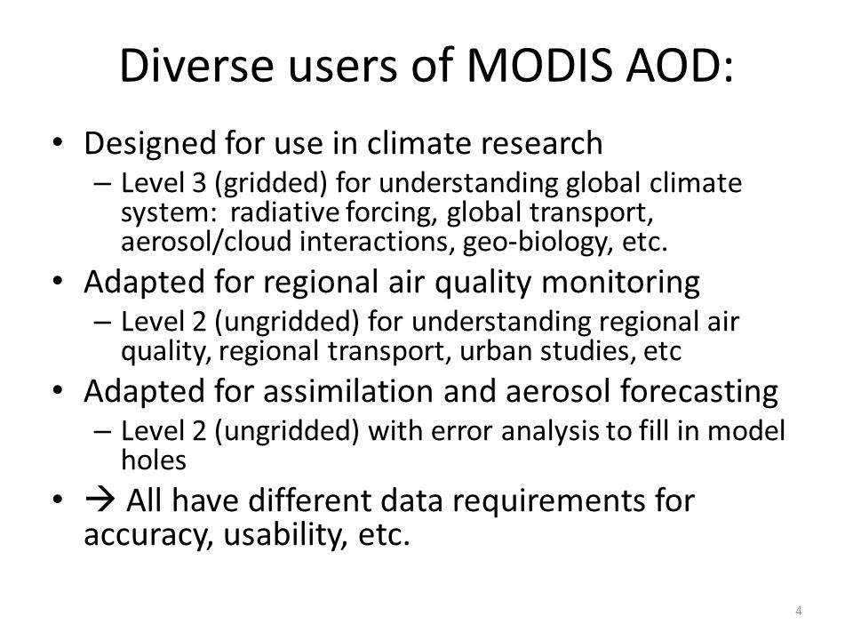 Diverse users of MODIS AOD: