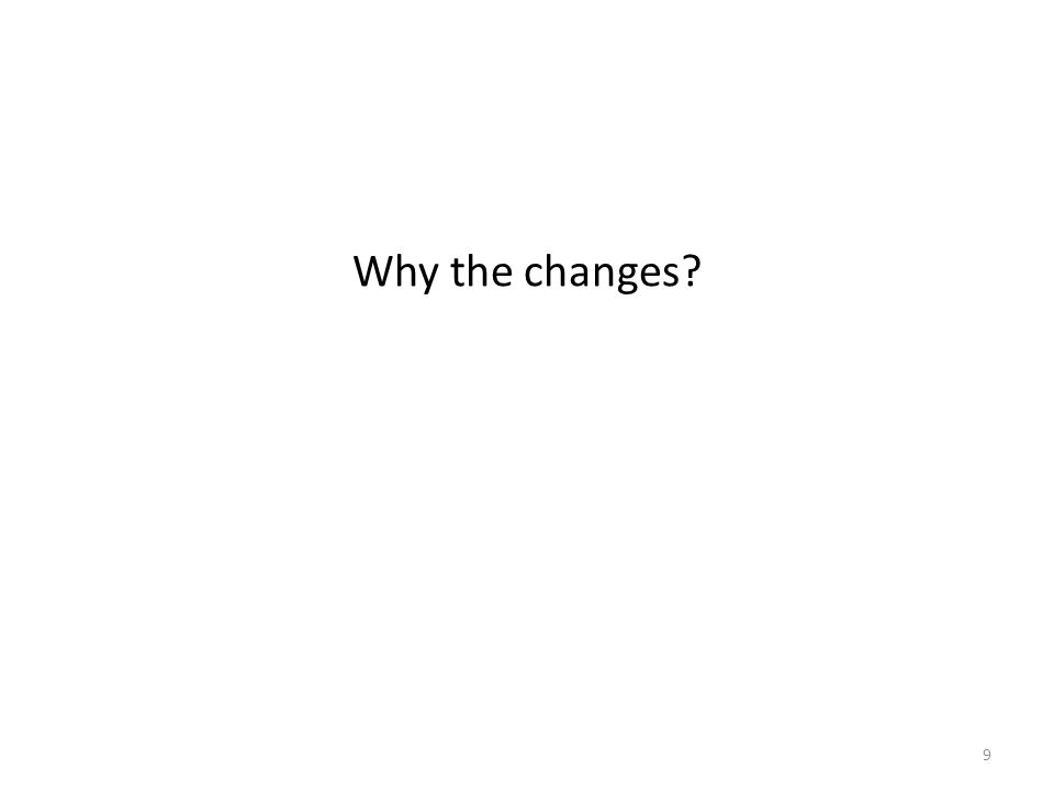 Why the changes