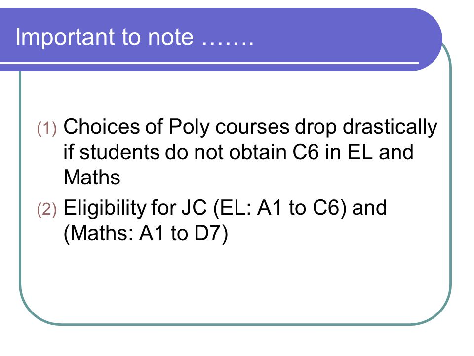 Important to note ……. Choices of Poly courses drop drastically if students do not obtain C6 in EL and Maths.