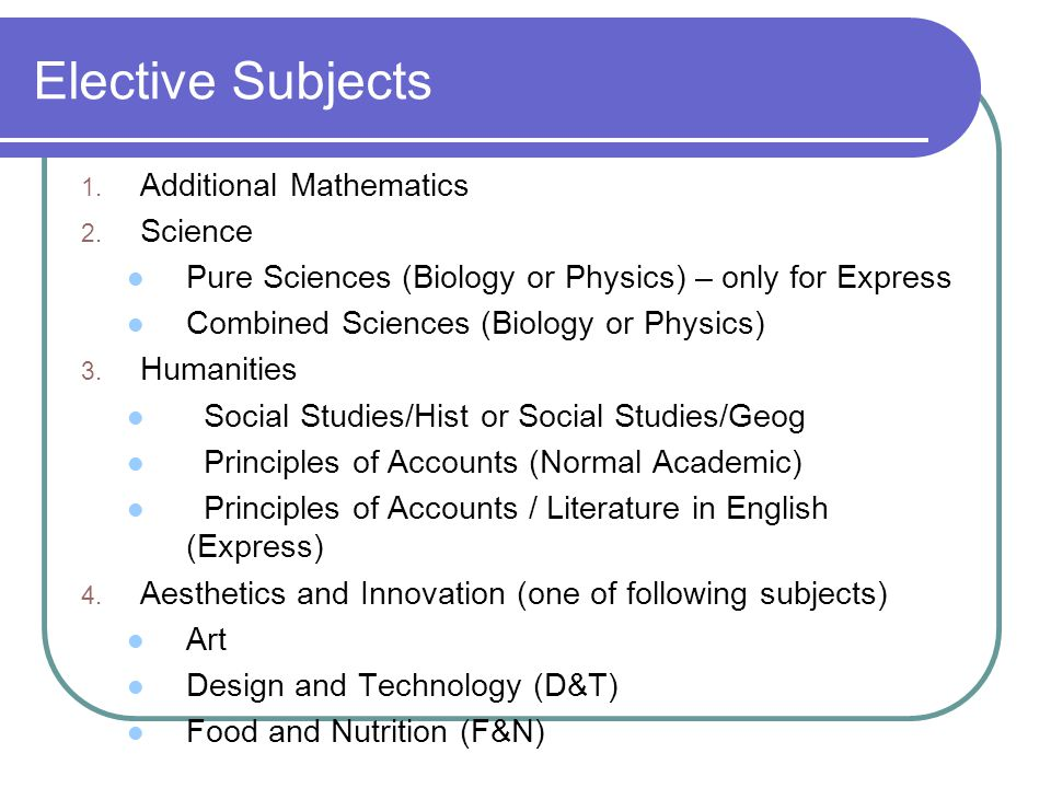 Elective Subjects Additional Mathematics Science