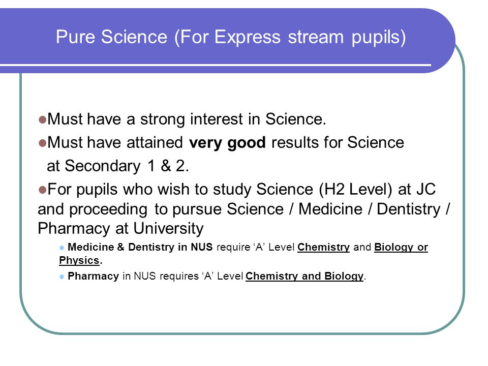 Pure Science (For Express stream pupils)