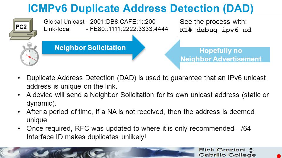 ICMPv6 Duplicate Address Detection (DAD)