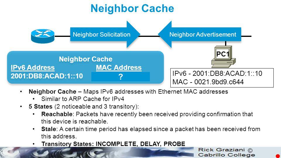 Neighbor Cache PC1 Neighbor Cache IPv6 Address MAC Address