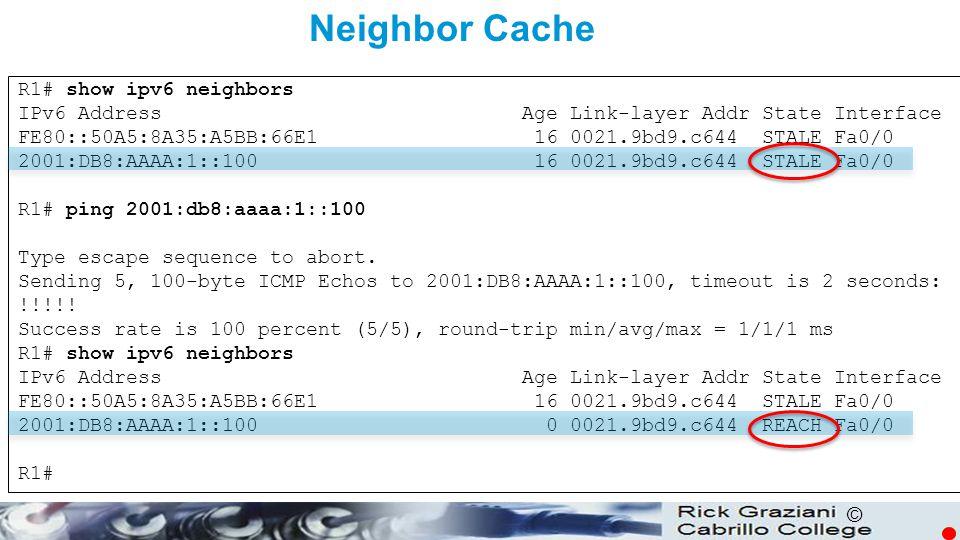 Neighbor Cache R1# show ipv6 neighbors