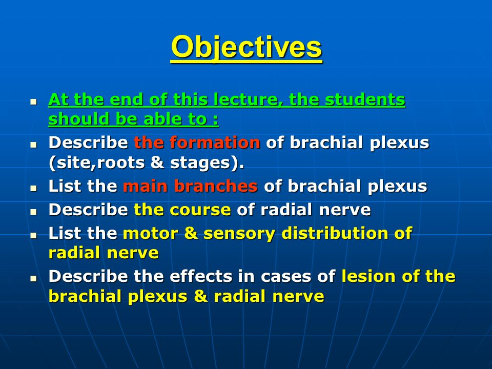 Objectives At the end of this lecture, the students should be able to : Describe the formation of brachial plexus (site,roots & stages).