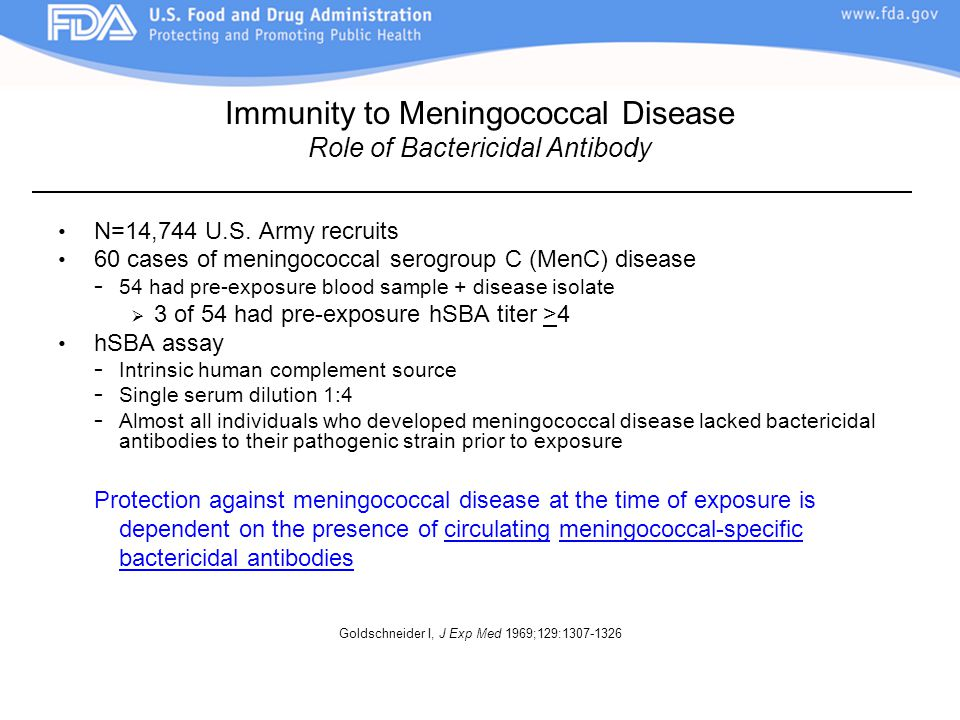 Immunity to Meningococcal Disease Role of Bactericidal Antibody