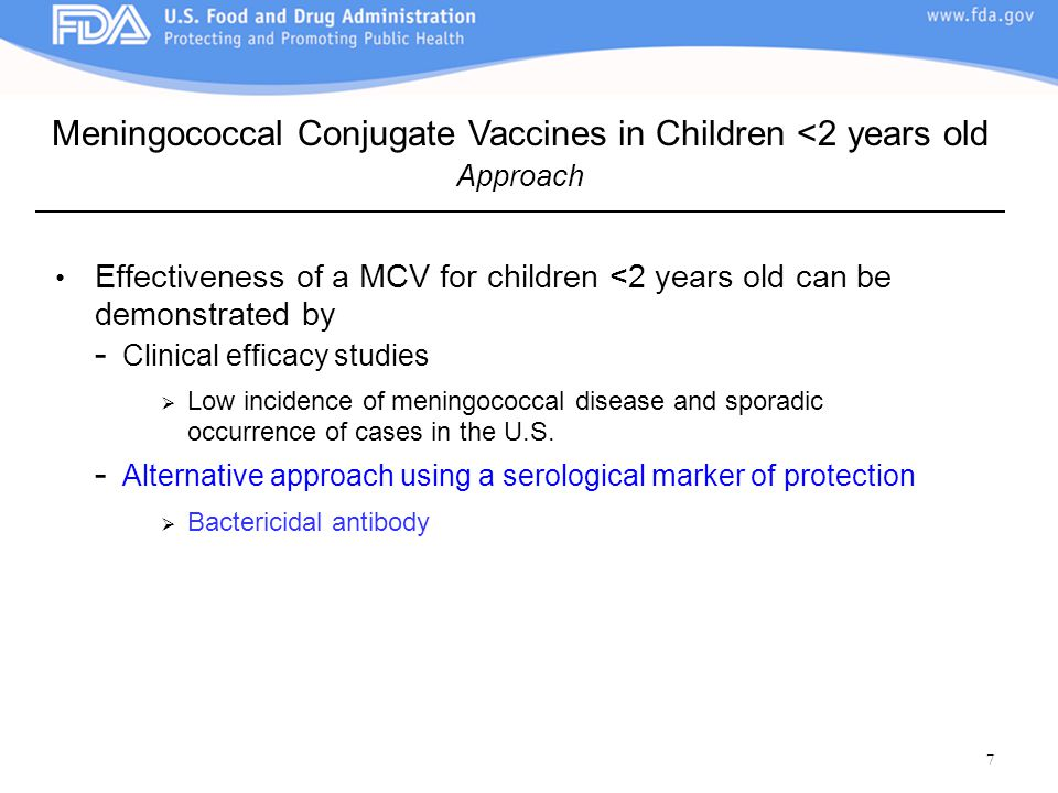 Meningococcal Conjugate Vaccines in Children <2 years old