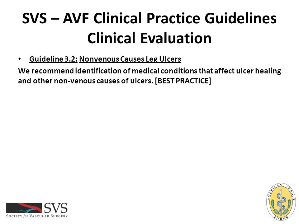 SVS – AVF Clinical Practice Guidelines Clinical Evaluation