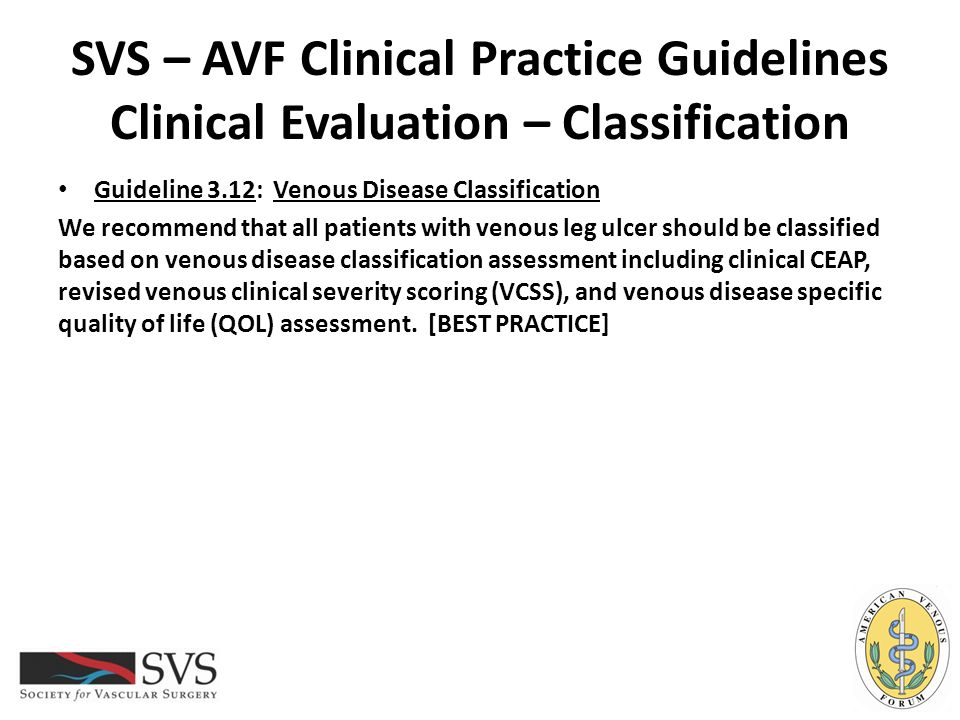 SVS – AVF Clinical Practice Guidelines Clinical Evaluation – Classification