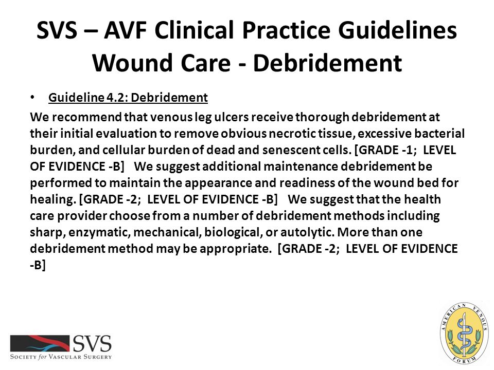 SVS – AVF Clinical Practice Guidelines Wound Care - Debridement