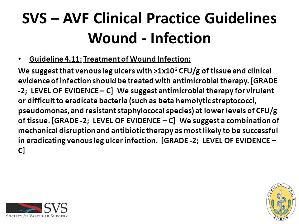 SVS – AVF Clinical Practice Guidelines Wound - Infection