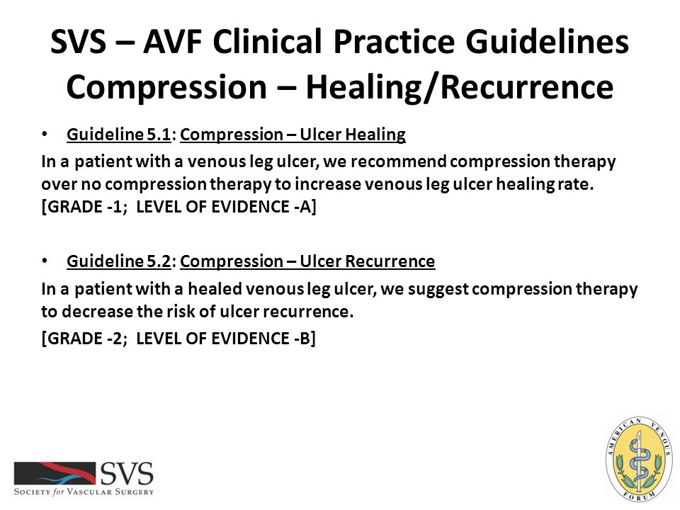 SVS – AVF Clinical Practice Guidelines Compression – Healing/Recurrence