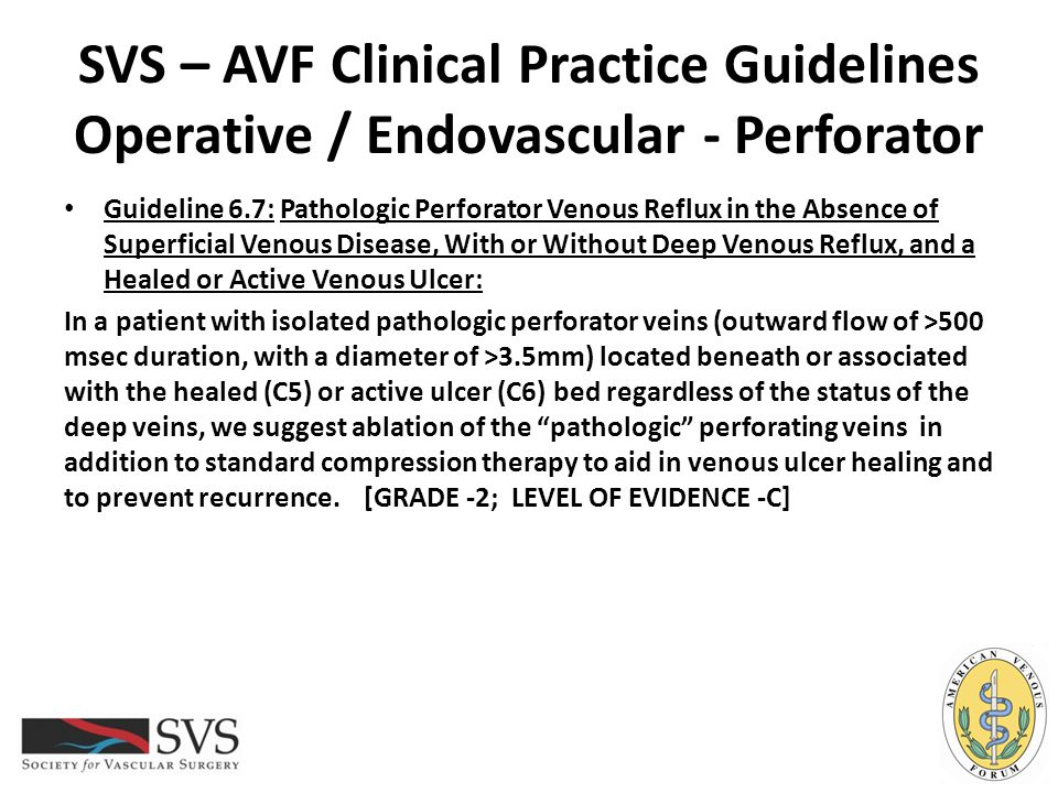 SVS – AVF Clinical Practice Guidelines Operative / Endovascular - Perforator