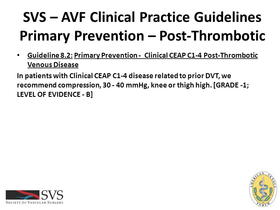 SVS – AVF Clinical Practice Guidelines Primary Prevention – Post-Thrombotic