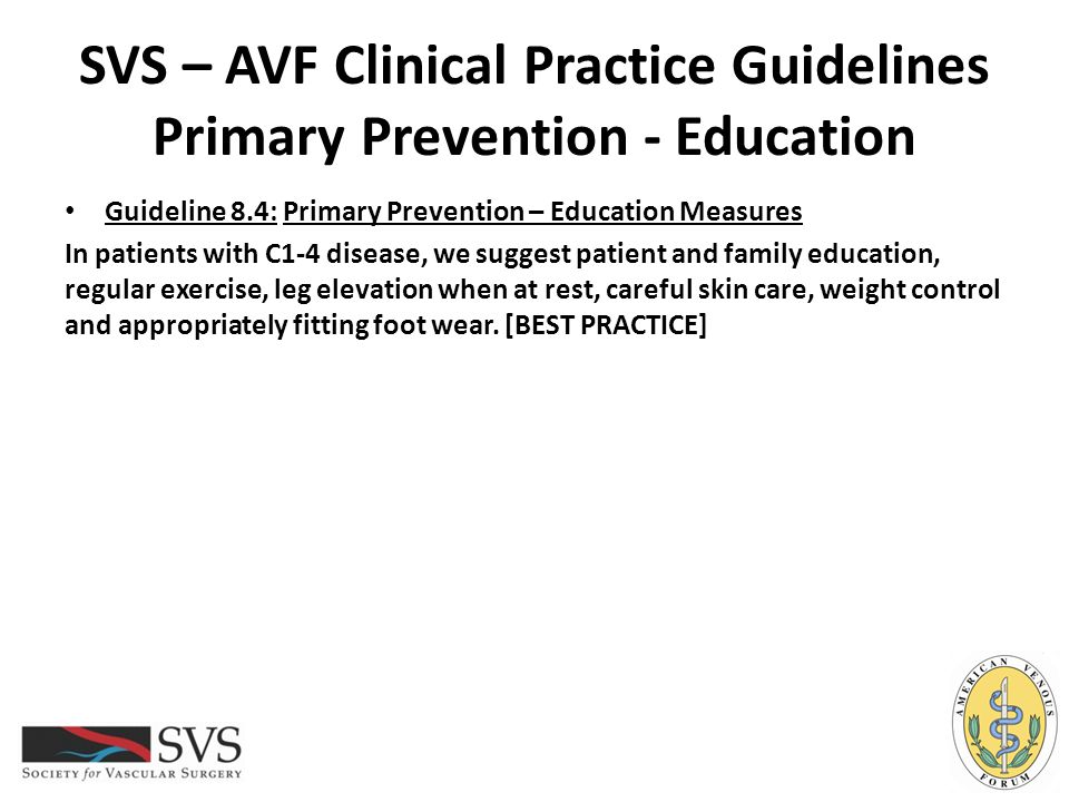 SVS – AVF Clinical Practice Guidelines Primary Prevention - Education