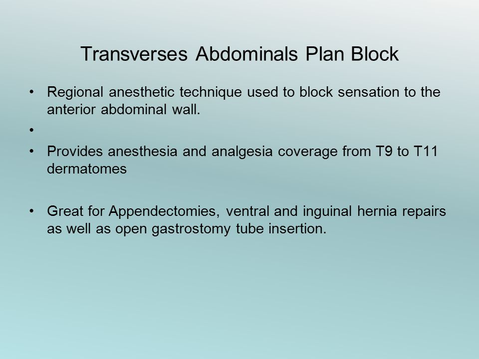 Transverses Abdominals Plan Block