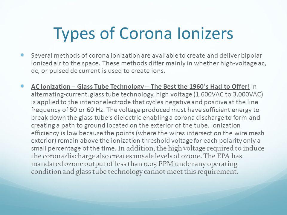 Types of Corona Ionizers