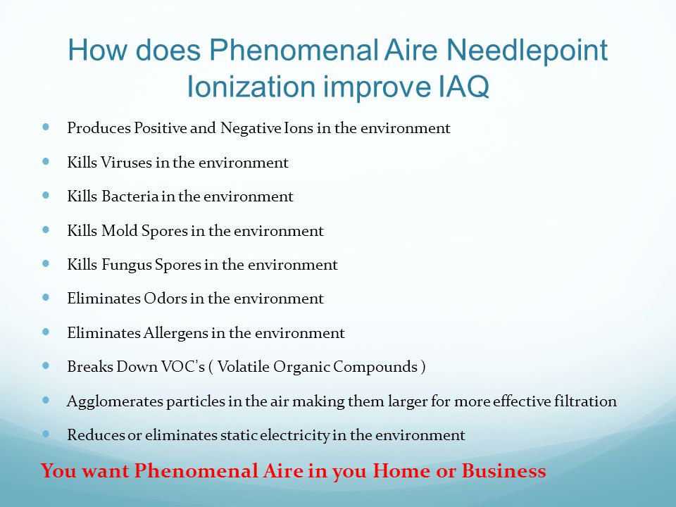How does Phenomenal Aire Needlepoint Ionization improve IAQ
