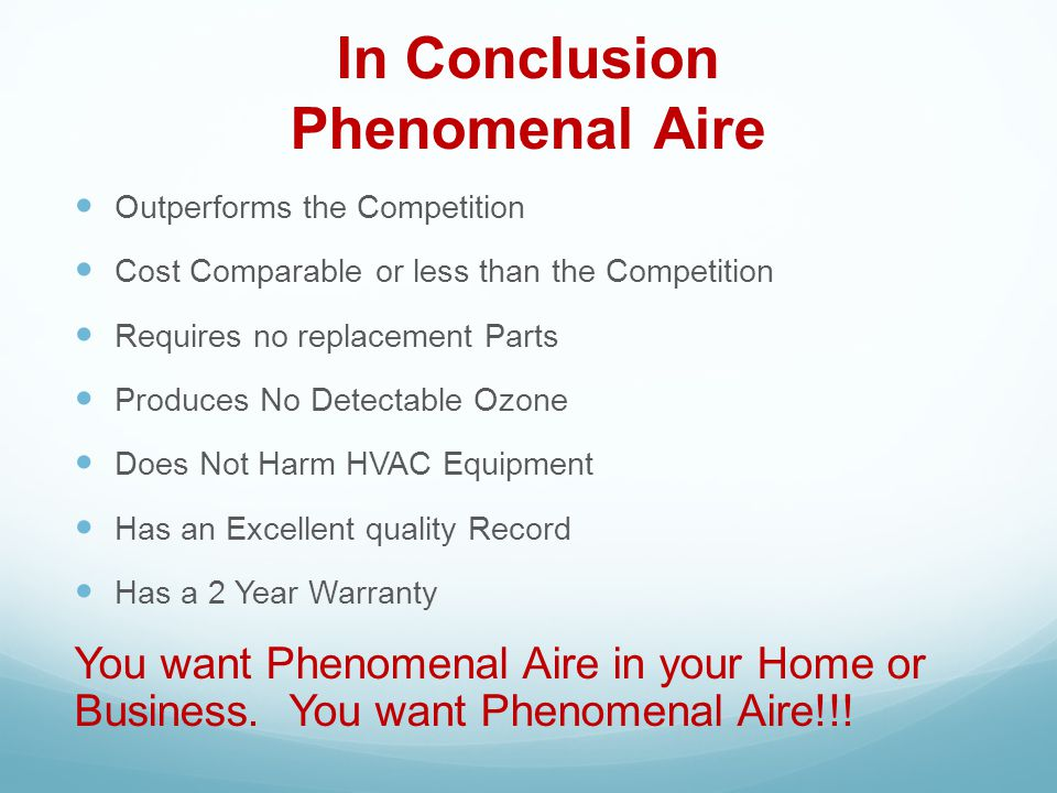 In Conclusion Phenomenal Aire