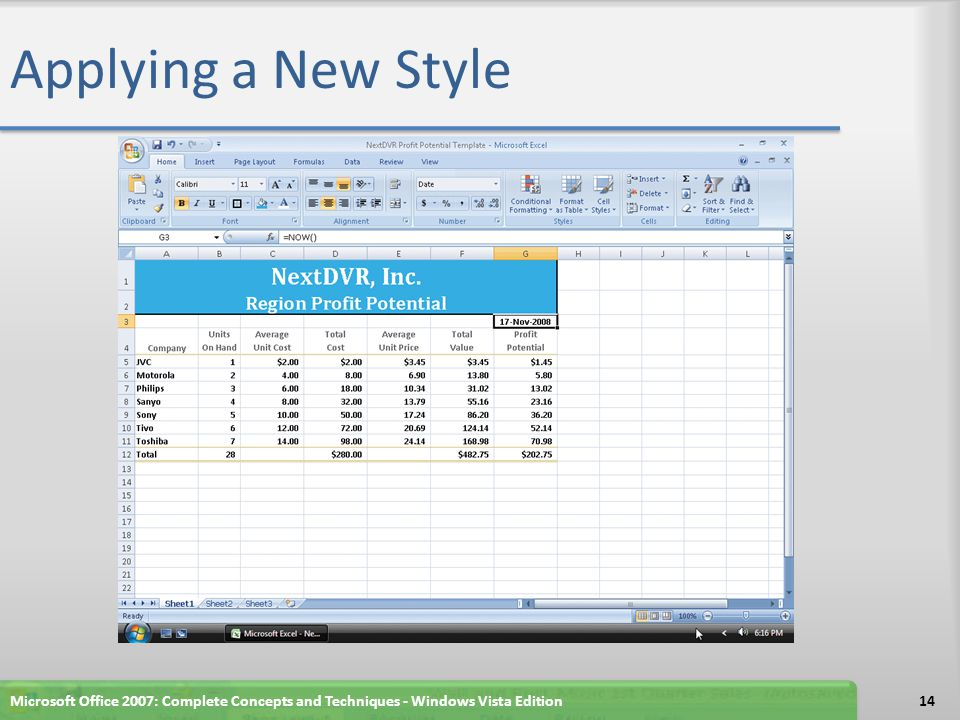 Applying a New Style Microsoft Office 2007: Complete Concepts and Techniques - Windows Vista Edition.