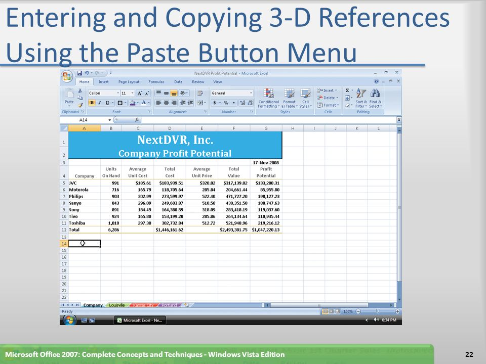 Entering and Copying 3-D References Using the Paste Button Menu