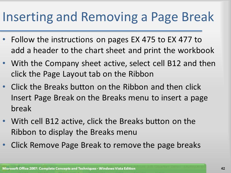Inserting and Removing a Page Break