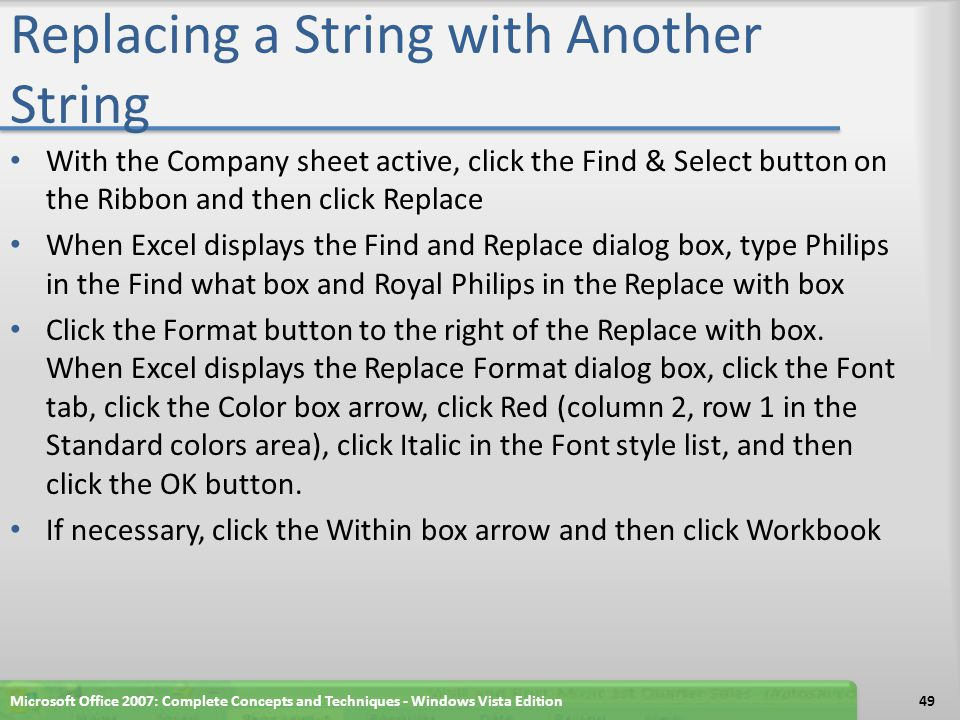 Replacing a String with Another String