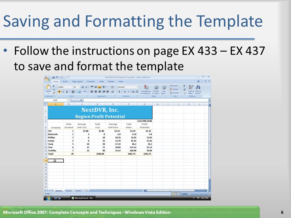 Saving and Formatting the Template