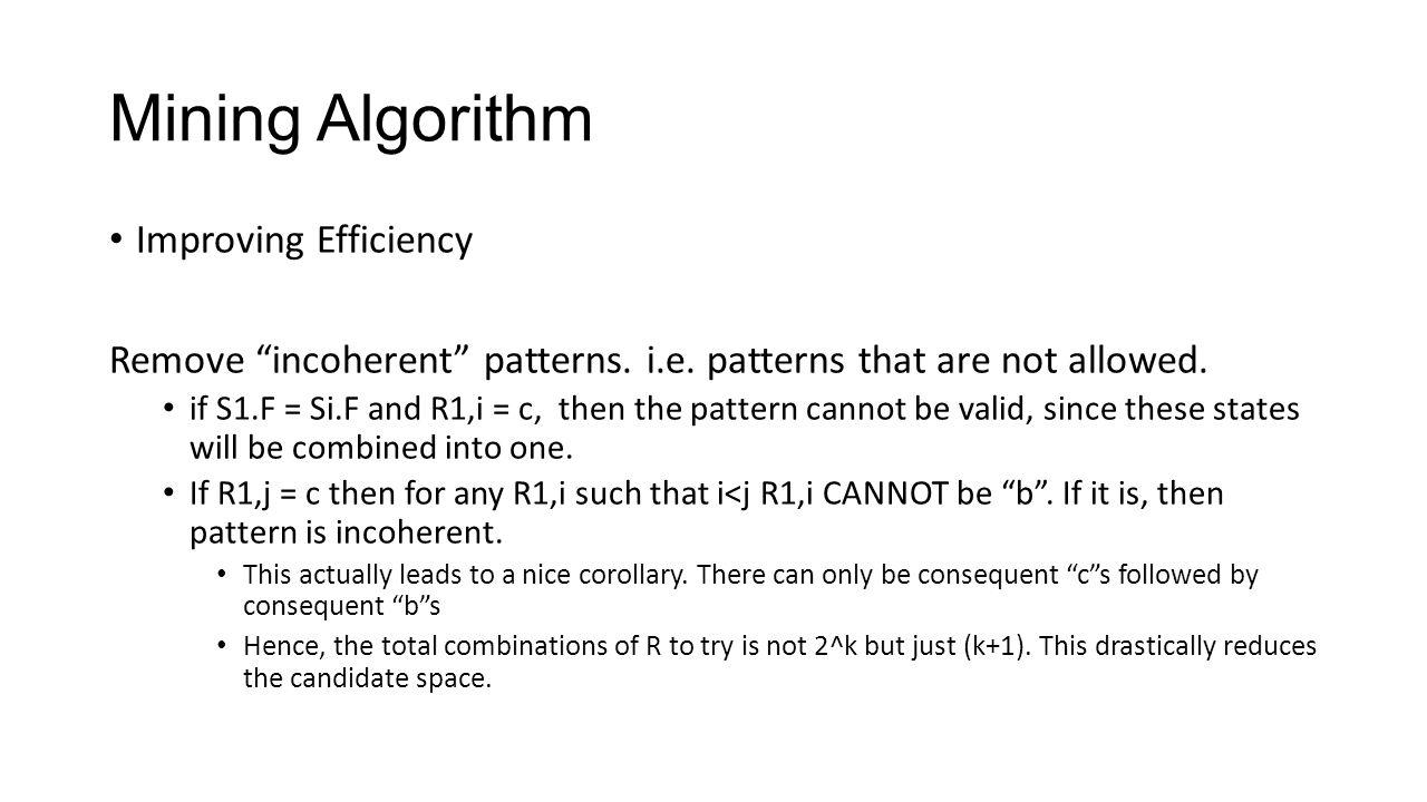 Mining Algorithm Improving Efficiency