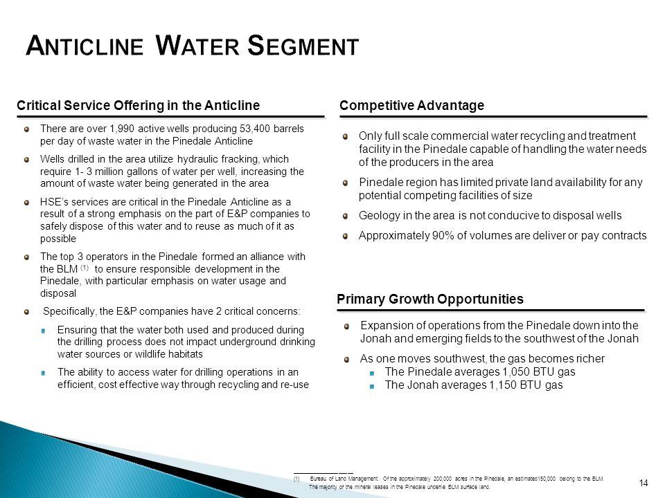 Anticline Water Segment