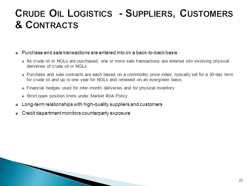 Crude Oil Logistics - Suppliers, Customers & Contracts