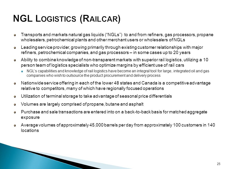 NGL Logistics (Railcar)