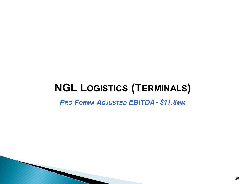 NGL Logistics (Terminals) Pro Forma Adjusted EBITDA - $11.8mm