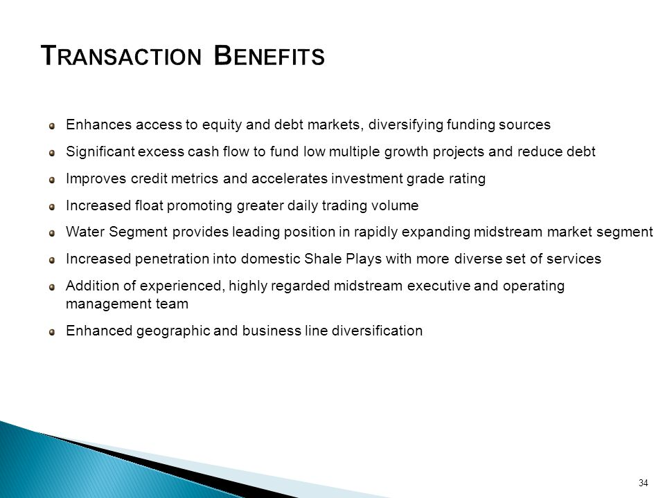 Transaction Benefits Enhances access to equity and debt markets, diversifying funding sources.
