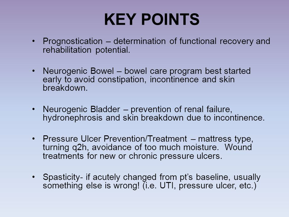 KEY POINTS Prognostication – determination of functional recovery and rehabilitation potential.