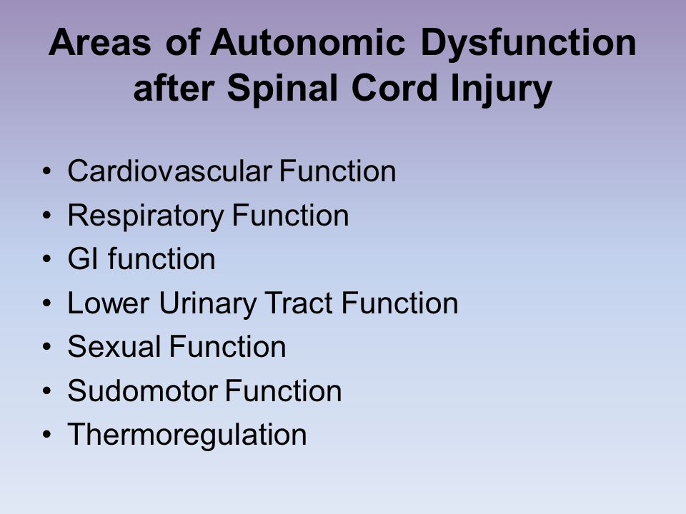 Areas of Autonomic Dysfunction after Spinal Cord Injury