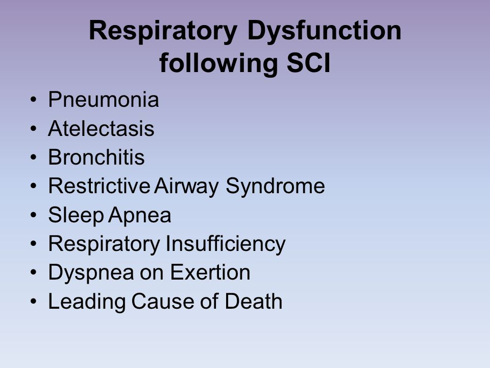 Respiratory Dysfunction following SCI