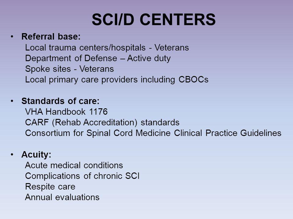 SCI/D CENTERS Referral base: Local trauma centers/hospitals - Veterans