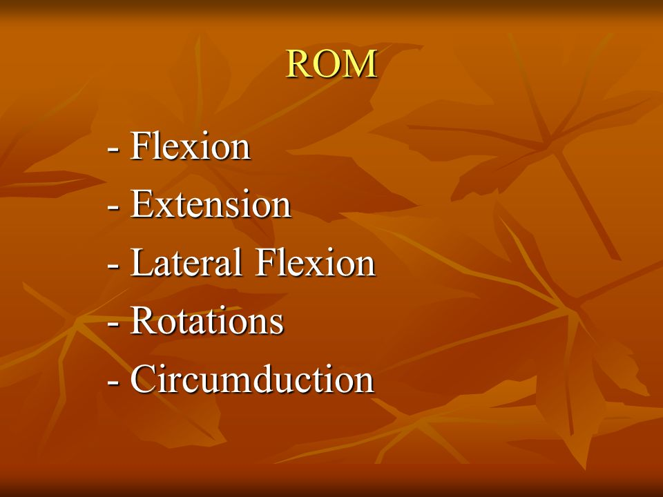 ROM - Flexion - Extension - Lateral Flexion - Rotations - Circumduction
