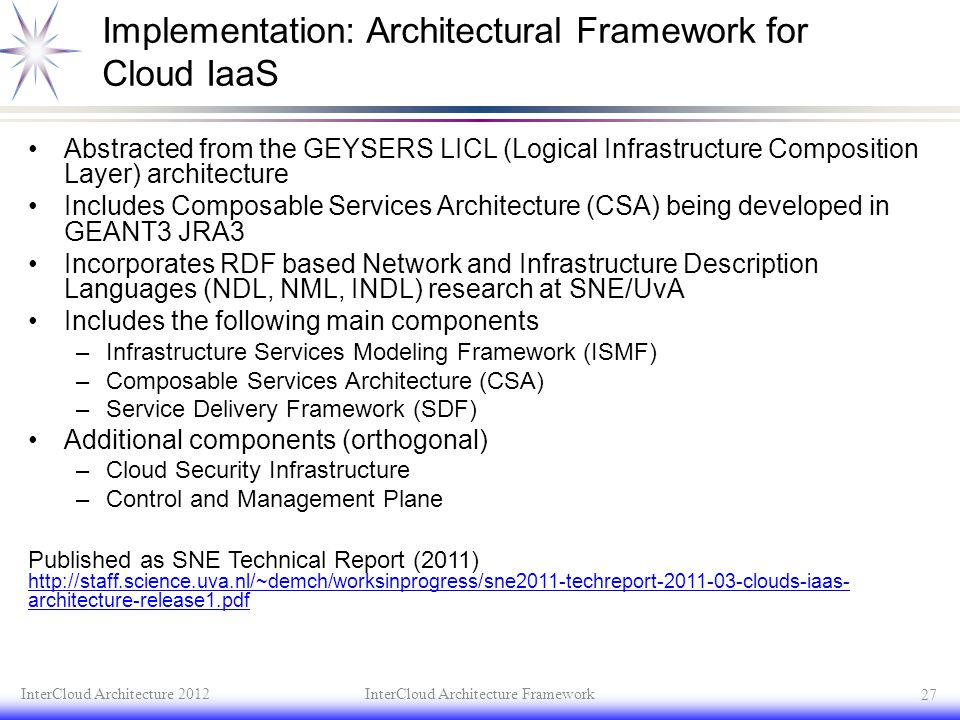 Implementation: Architectural Framework for Cloud IaaS