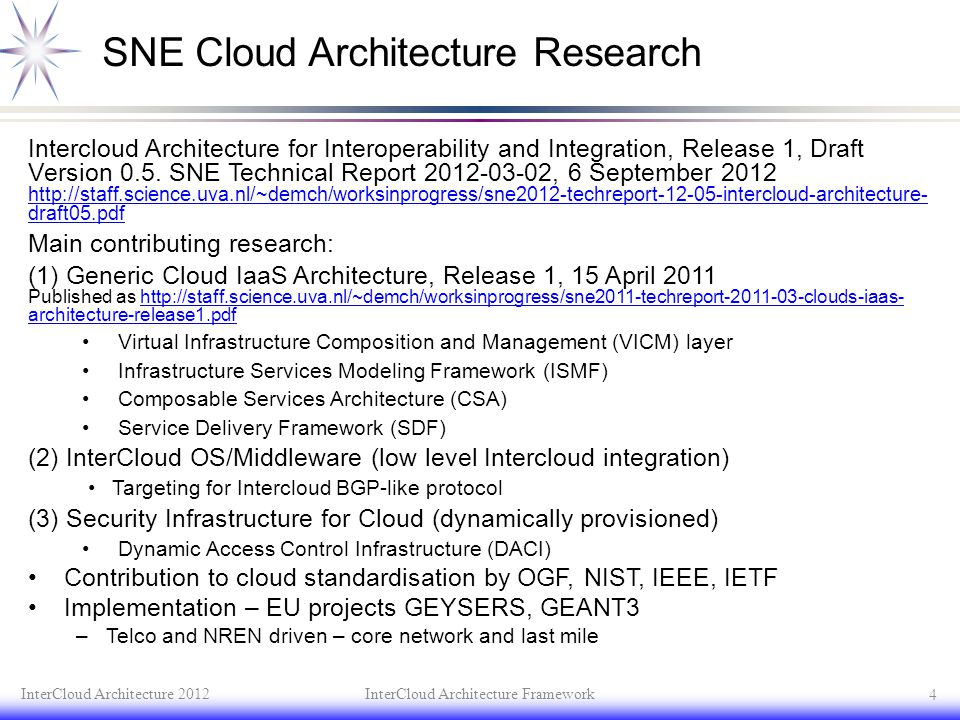SNE Cloud Architecture Research