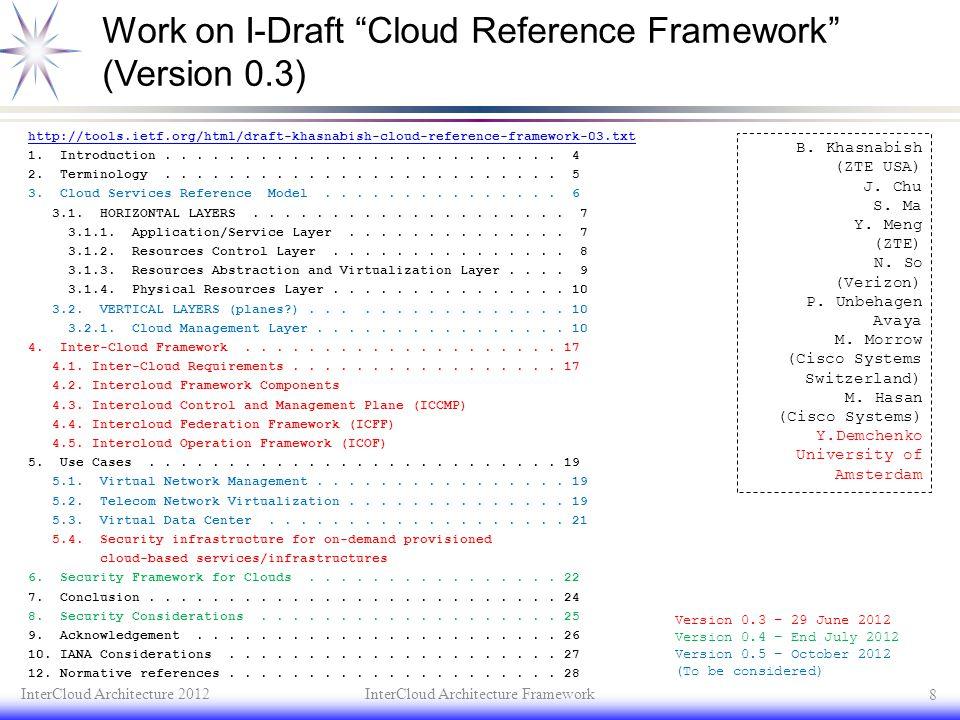 Work on I-Draft Cloud Reference Framework (Version 0.3)