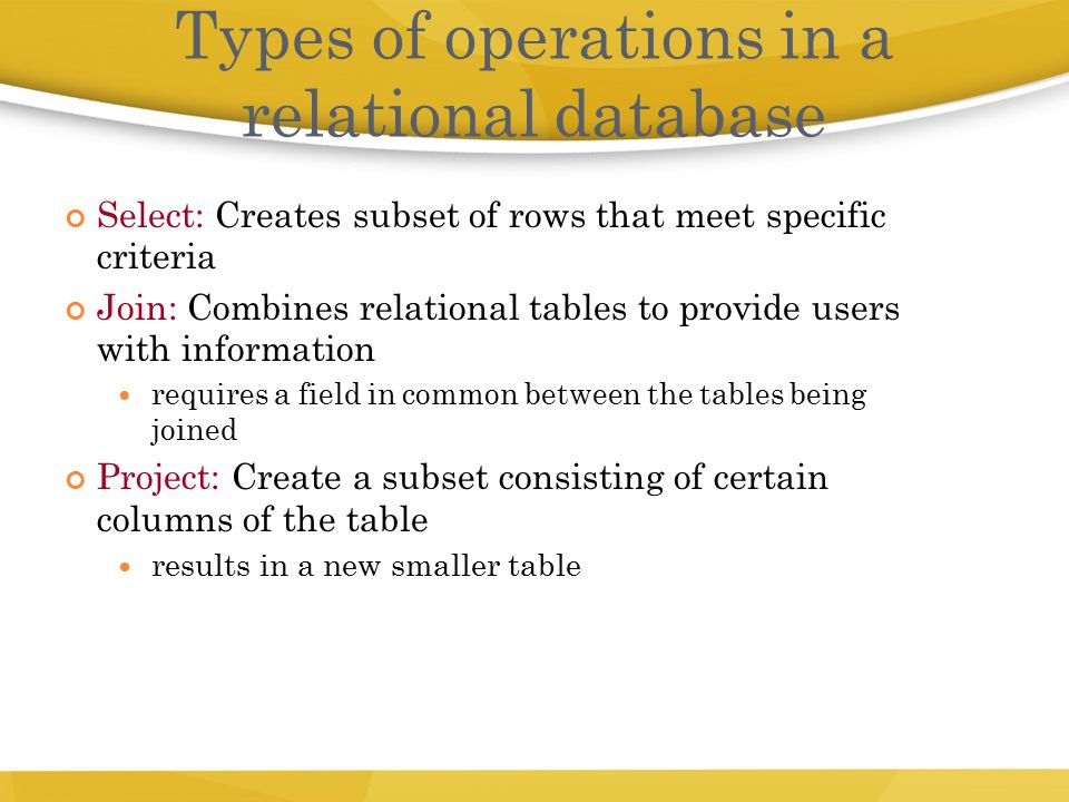 Types of operations in a relational database
