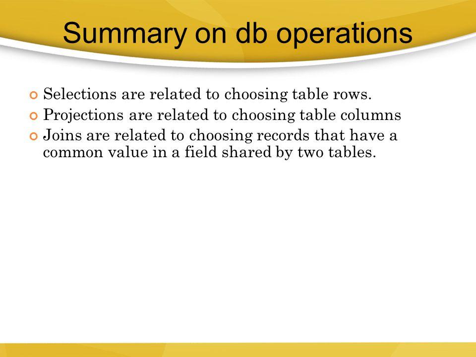 Summary on db operations